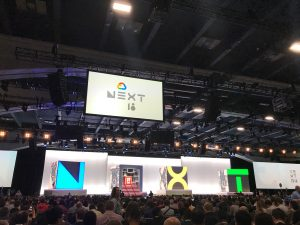 Photo of the stage at Google Cloud Next 2018 Conference