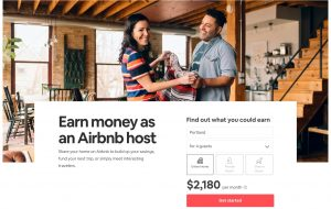 Screenshot of AirBNB host webpage