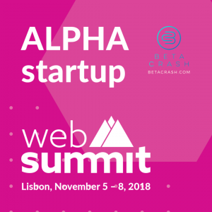 "Image with pink background with the words ""Alpha startup Web Summit"" and the BetaCrash logo"