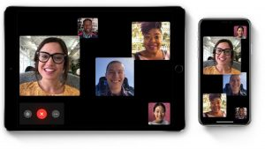Image of iPad and iPhone devices featuring group of people on Facetime call