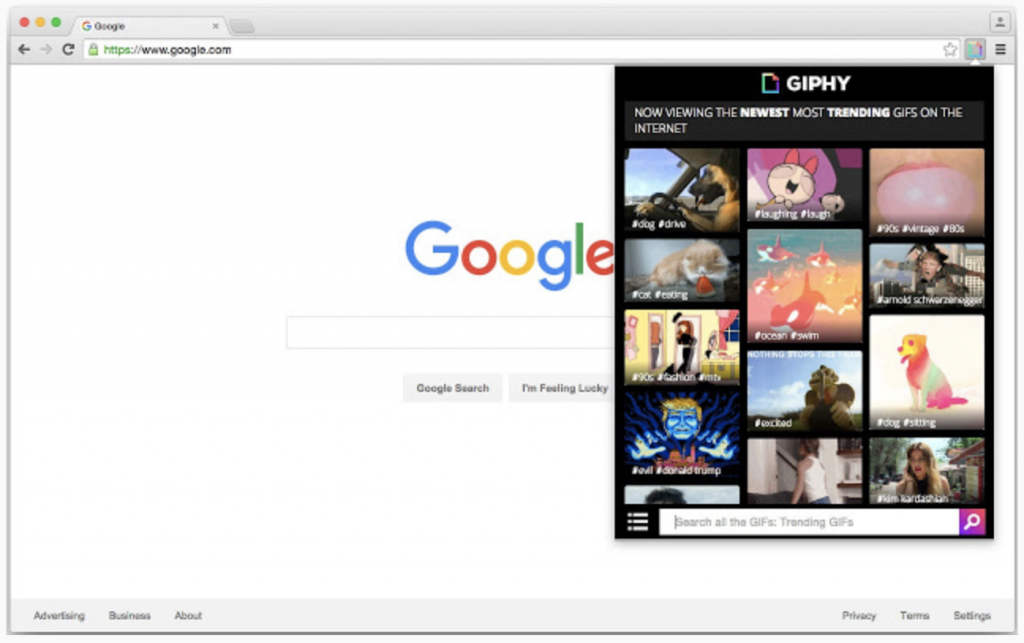 Screenshot of GIPHY for Chrome extension
