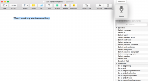 Screenshot of Mac Text Dictation feature