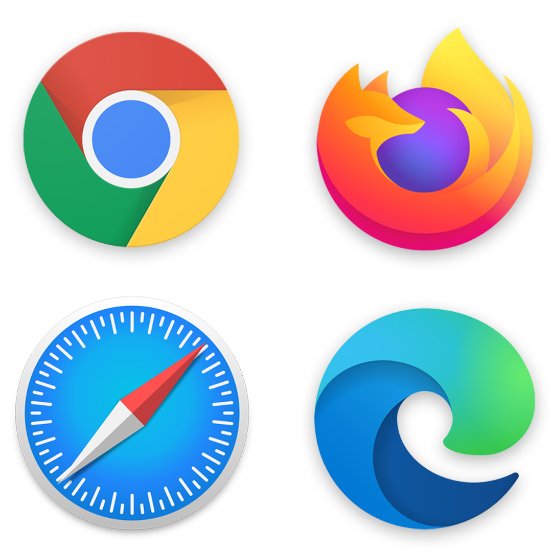 Grid of browser logos from Chrome, Firefox, Safari, and Edge