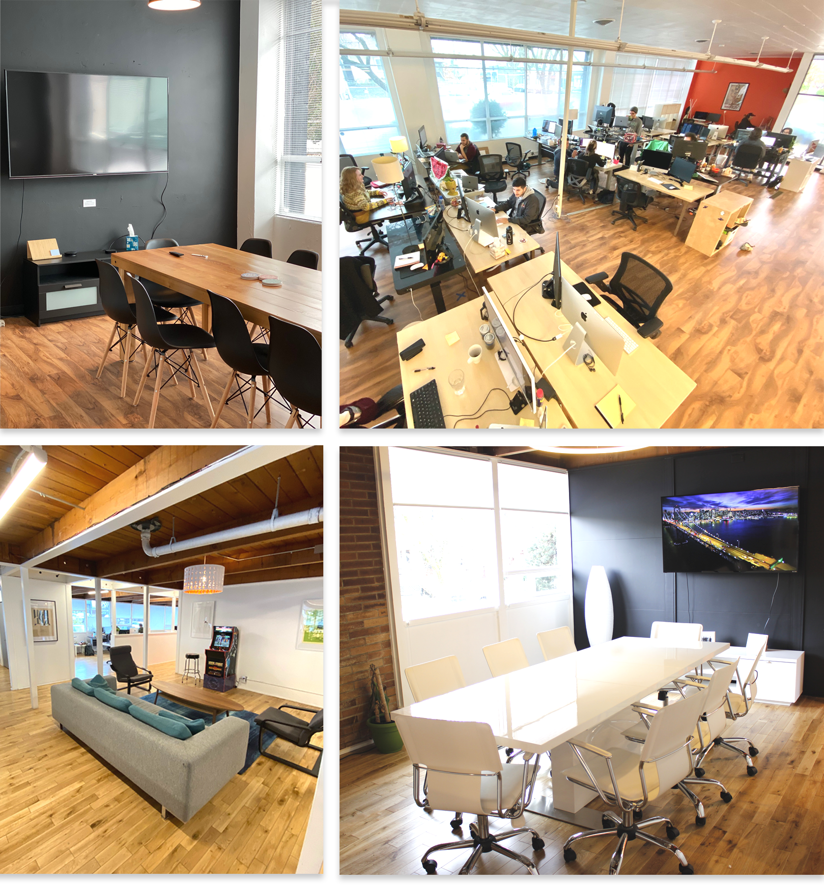 Collage of several spaces around our offices