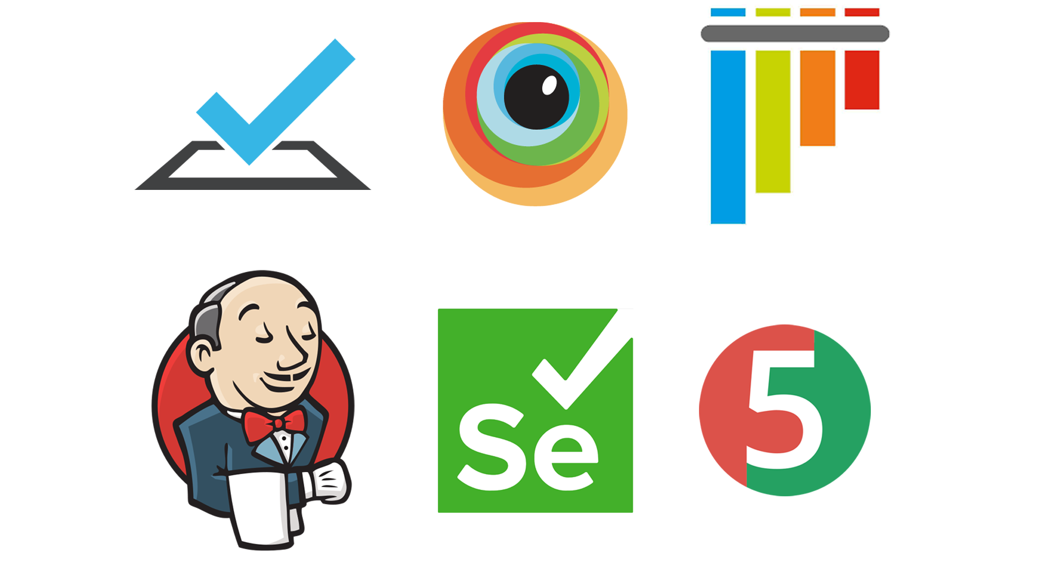 Grid of logos for TestCafé, BrowserStack, pytest, Jenkins, Selenium, and JUnit 5