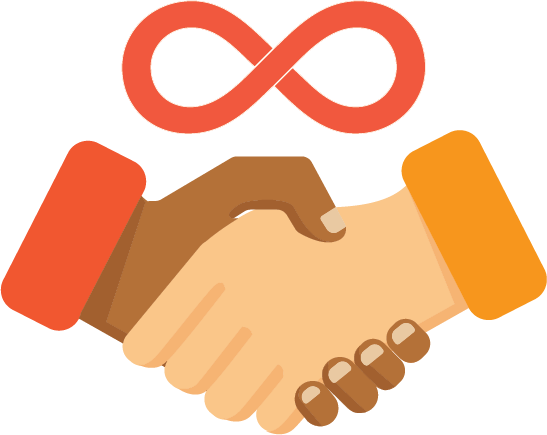 illustrated handshake with continuous symbol