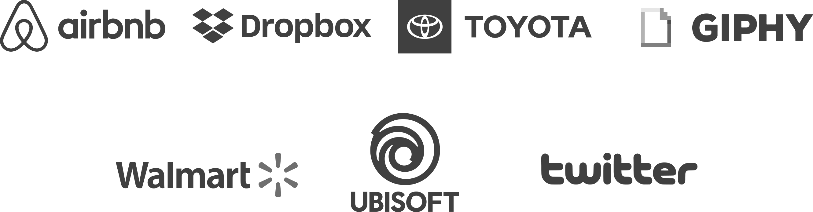 Logos for Airbnb, Toyota, Giphy, Walmart, Ubisoft, Twitter, and Dropbox