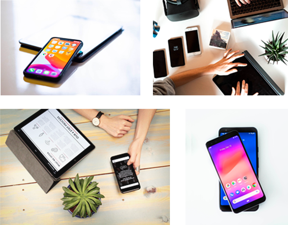 Collage of different devices and testers interacting with them