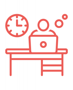 icon of a person working at a desk, with a clock behind them