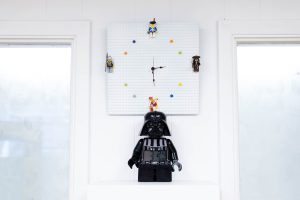image of a working clock made out of legos
