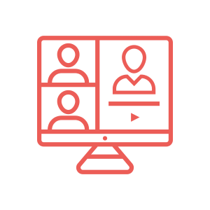 icon of a computer with multiple people on it in a conference call