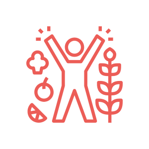 icon of a person with their arms and legs outstretched with fruit and veggies around them