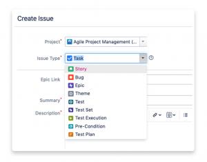 Image showing Xray's bug creation screen