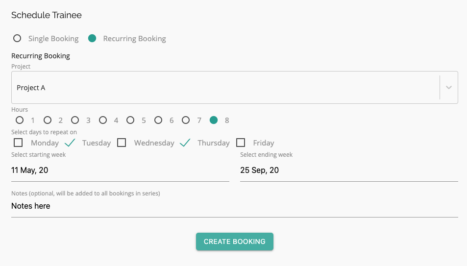modal for creating recurring employee booking