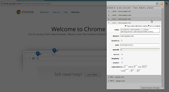 Edit This Cookie Chrome extension menu page, showing the available options related to cookie management