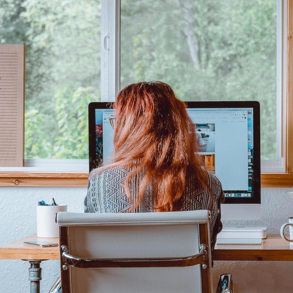 Woman at desk working from home