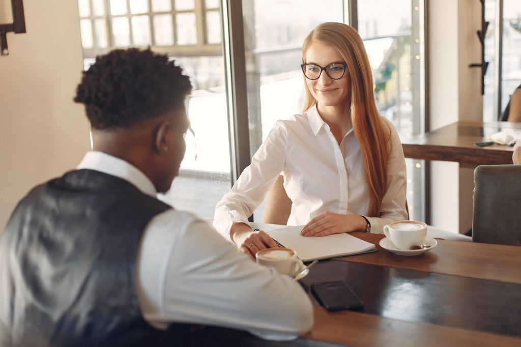 Two people having job interview