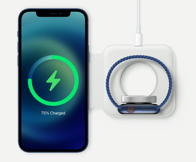 iphone 12 and apple watch with wireless charger
