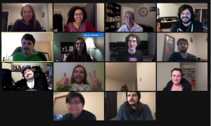 Screenshot of the Zoom meeting, with fourteen PLUS QA employees on-screen.
