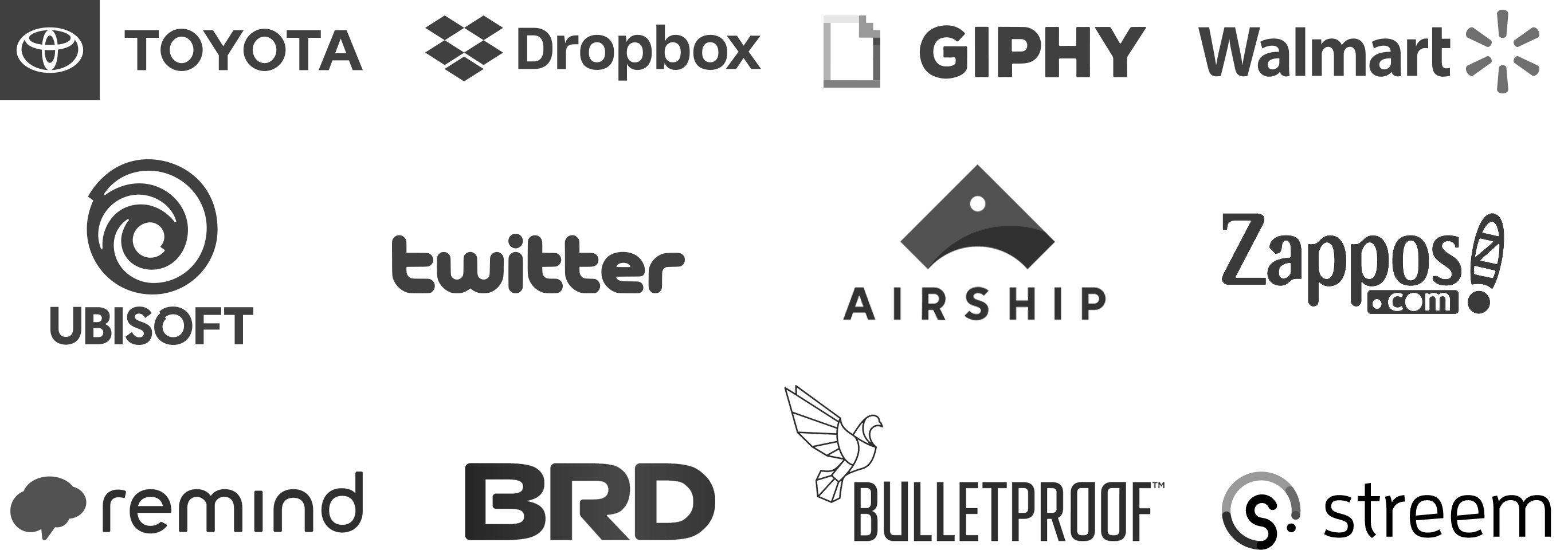 The logos of Toyota, Dropbox, Giphy, Walmart, Ubisoft, Twitter, Airship, Zappos.com, The Atlantic, Remind, BRD, Bulletproof, and Streem