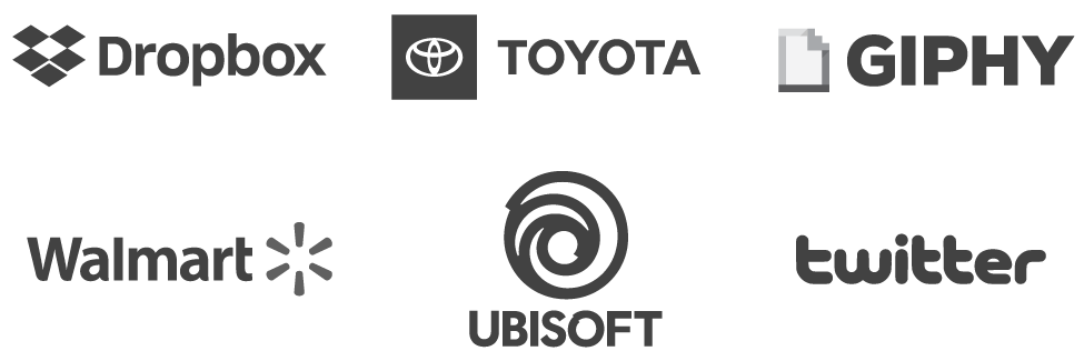 Logos for Toyota, Giphy, Walmart, Ubisoft, Twitter, and Dropbox
