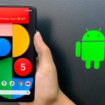 Pixel 5 - an Android device for app testing in 2021 next to an Android logo sticker