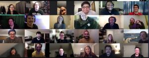 Screenshot of the Virtual Trivia Night, with 24 PLUS QA employees on-screen.