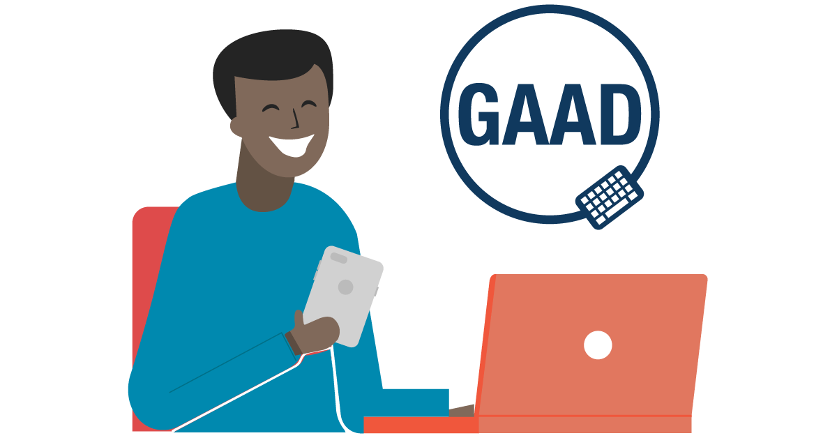 An illustration of a person using a laptop and smartphone, with the GAAD logo.
