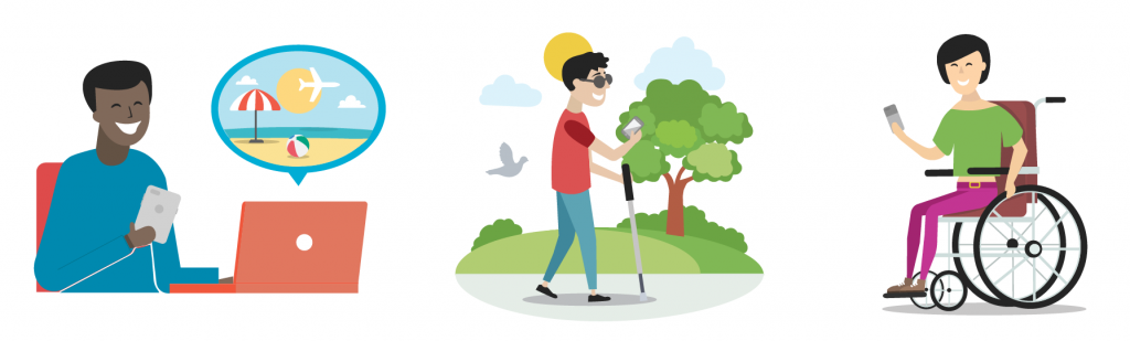 Three illustrations: of a person booking a place for travel using a laptop and smartphone, of a blind person walking through the park with a cane and smartphone, and of a person in a wheelchair using a smartphone.