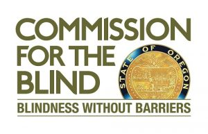 Oregon Commission for the Blind logo with the words Blindness without Barriers
