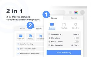 Screenshots of the Record and Capture settings for the Awesome Screenshot Chrome Extensions.