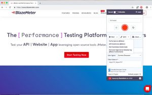 The BlazeMeter webpage, with the BlazeMeter Chrome extension menu demonstrating the various options available for test runs.