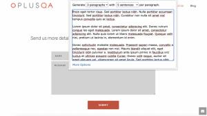 Lorem Ipsum Generator Chrome extension showing three paragraphs with 5 sentences per paragraph.