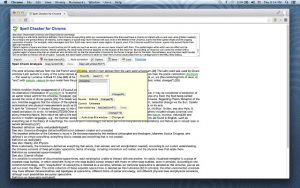 Screenshot of the Spell Checker for Chrome extension flagging an incorrect word and offering suggestions.