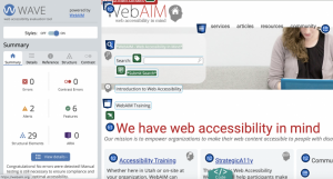 WAVE extension menu showing potential accessibility issues on a webpage.