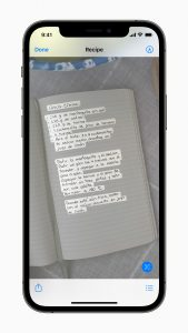 An iPhone on iOS 15, demonstrating a new live text feature