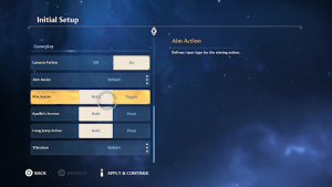 Assassin's Creed Valhalla Initial Setup Menu, with accessibility features