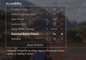 Accessibility menu screen and options for The Last of Us Part II